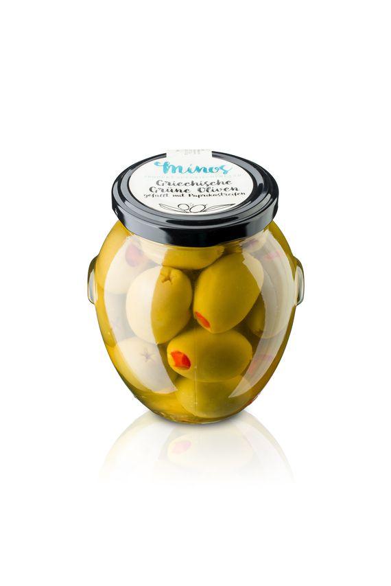 Griechische grünen Oliven gefüllt mit roten Paprikastreifen im 370ml-Glas