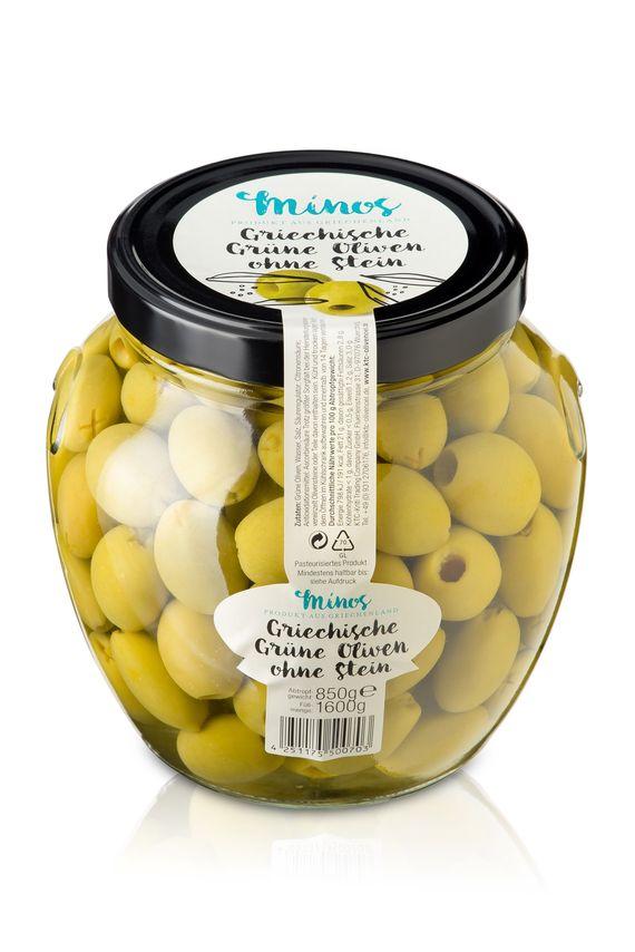 Unsere grünen Oliven ohne Stein im großen XXL-Glas