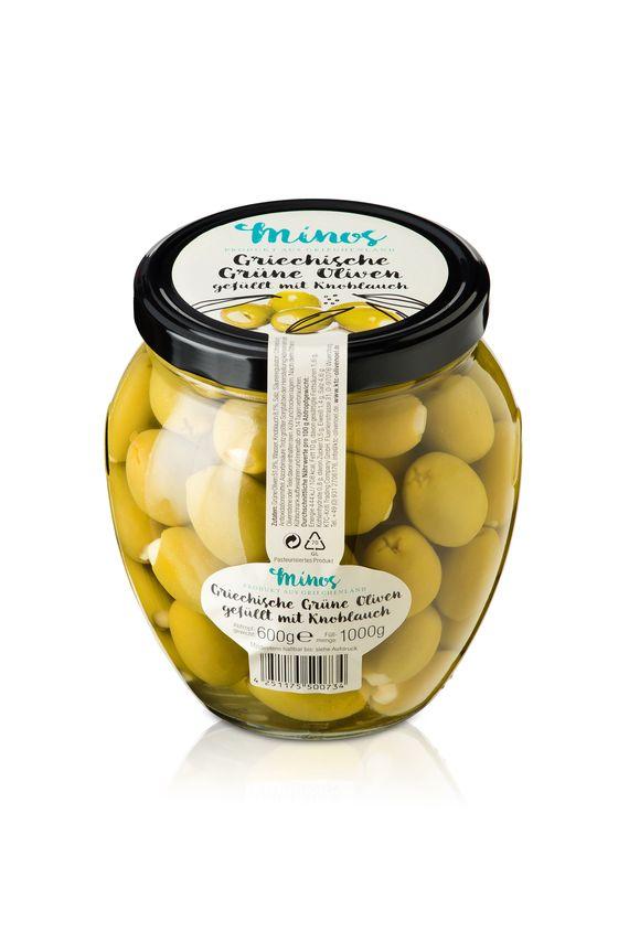 Unsere grünen Oliven mit Knoblauch im großen XXL-Glas