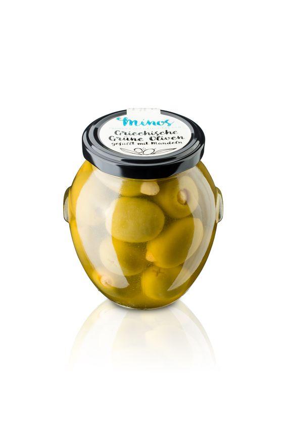 Griechische grünen Oliven gefüllt mit ganzen Mandeln im 370ml-Glas