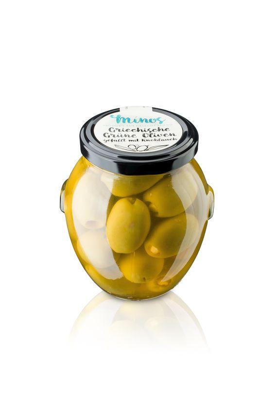 Griechische grünen Oliven gefüllt mit Knoblauchzehen im 370ml-Glas