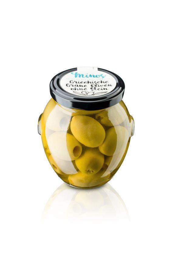 Griechische grünen Oliven mit Stein im 370ml-Glas