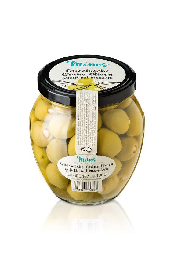 Unsere grünen Oliven mit Mandeln im großen XXL-Glas