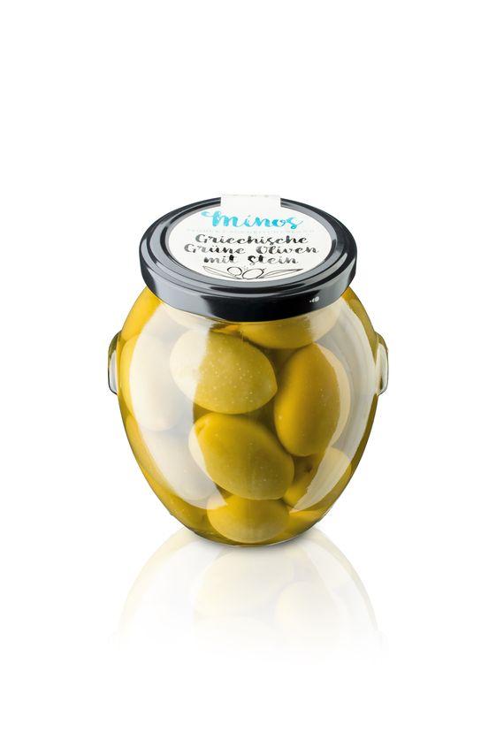 Griechische grünen Oliven ohne Stein im 370ml-Glas