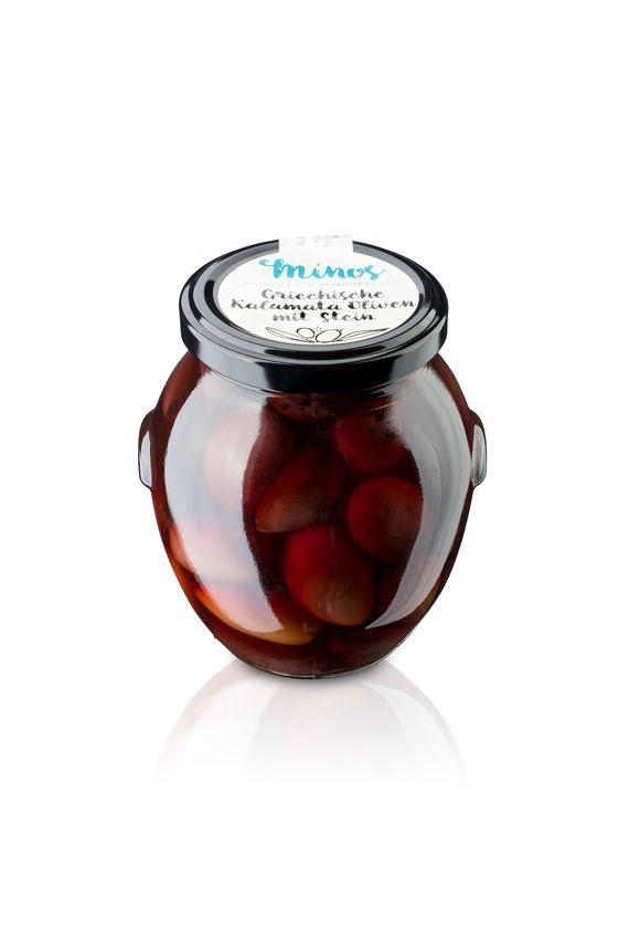 Griechische dunkle Kalamata Oliven mit Stein im 370ml-Glas