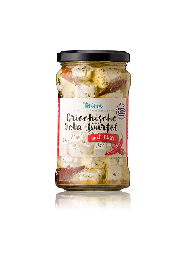Griechische Fetakäse-Würfel eingelegt mit Chilischoten im 314ml-Glas