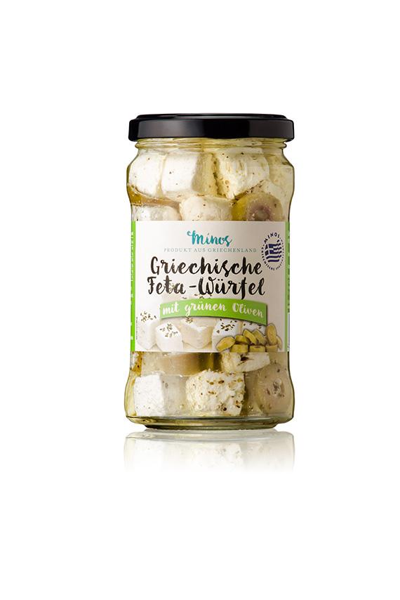 Griechische Fetakäse-Würfel mit grünen Oliven im 314ml-Glas